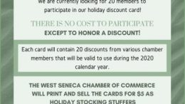 A limited number of spots on the card are still available to West Seneca Chamber of Commerce members.