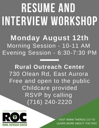 Two workshops will be offered on Aug. 12, at 10 a.m. and 6:30 p.m.