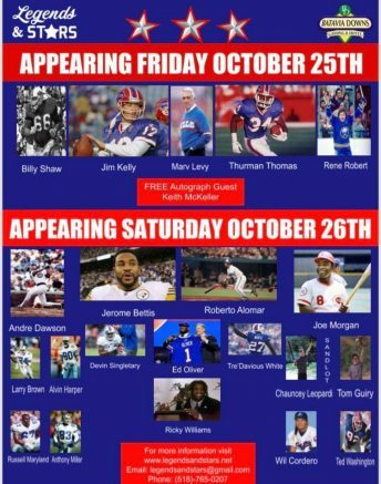 A long list of football, baseball and hockey legends will visit Batavia in October for the Legends & Stars autograph and sports collectibles show.