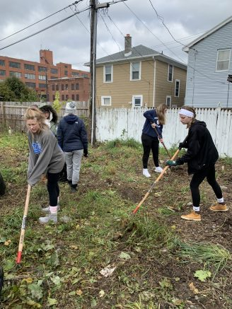 Mount Mercy students serve at Journey's End.