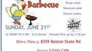 The Boston Lions Club will host their annual Father's Day Chicken Barbecue from noon to 4 p.m. Sunday, June 21.