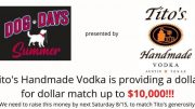Tito's has offered a dollar-for-dollar match up to $10,000 to help support the Niagara County SPCA and the City of Buffalo Animal Shelter.