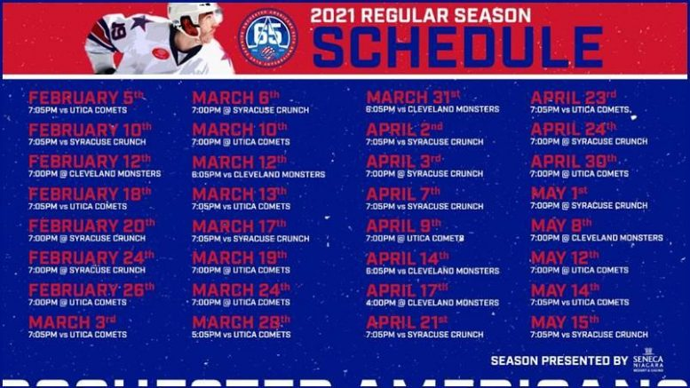 The Amerks will play an abbreviated 32-game schedule.