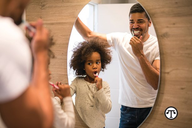 After each meal, brush your teeth with your children or send them with their siblings to help establish the habit.