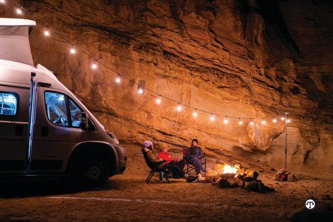 Camping in an RV provides more of the comforts of home with such amenities as a cozy bed.